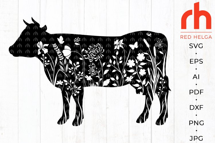 Floral cow svg - Flower cow svg - Cow with flowers svg