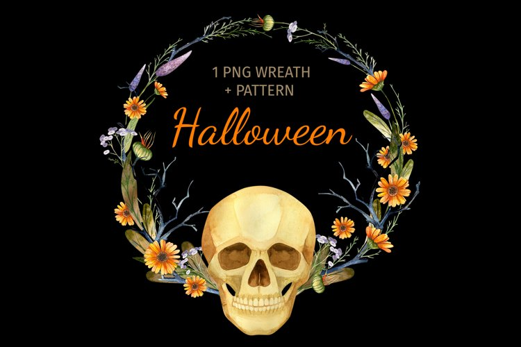 Halloween wreath and digital paper for DIY invitation card