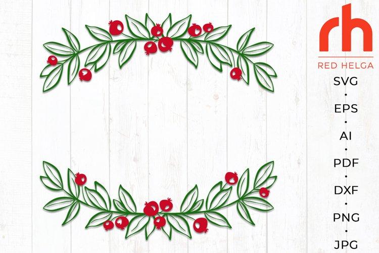 Holly wreath svg - Christmas wreath svg - Monogram Christmas