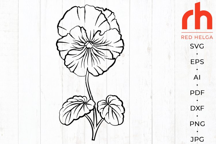 Violet svg - February birth flower svg - Pansies silhouette example image 1