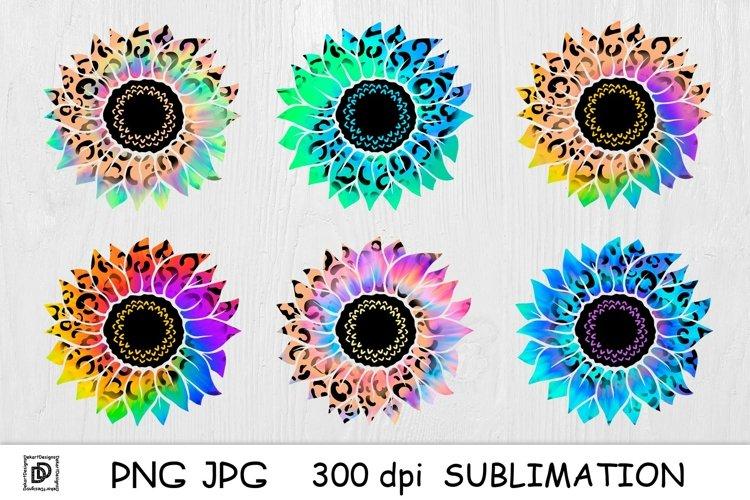 Sunflower Sublimation Bundle Rainbow Tie Dye Sunflower PNG