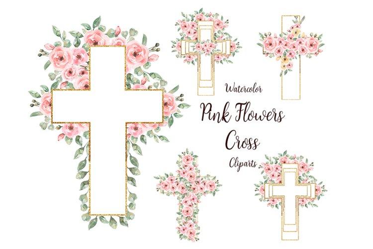 Watercolor Floral Cross Clipart