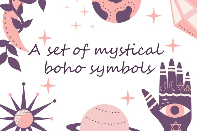 A set of mystical boho symbols SVG 9 elements
