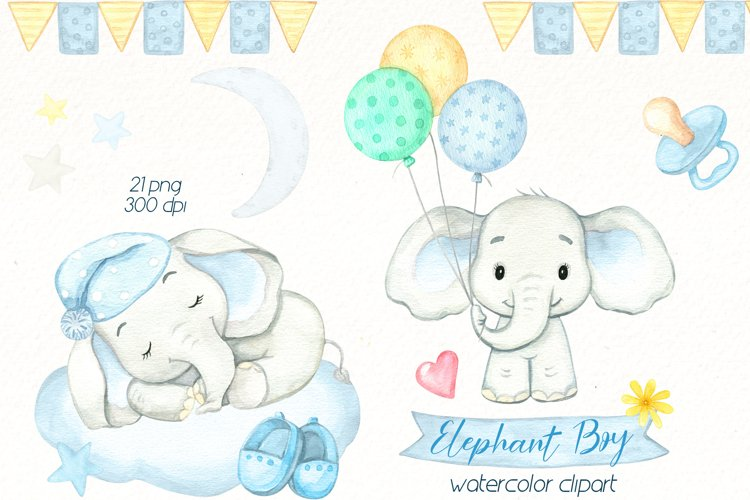 Baby Elephant watercolor clipart, cute safari animal png