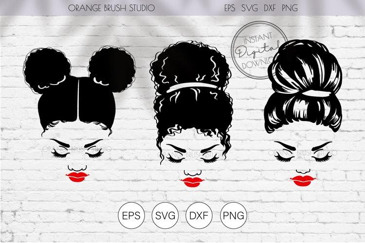Curly Messy Bun SVG Cut Files. Black Mom Life SVG