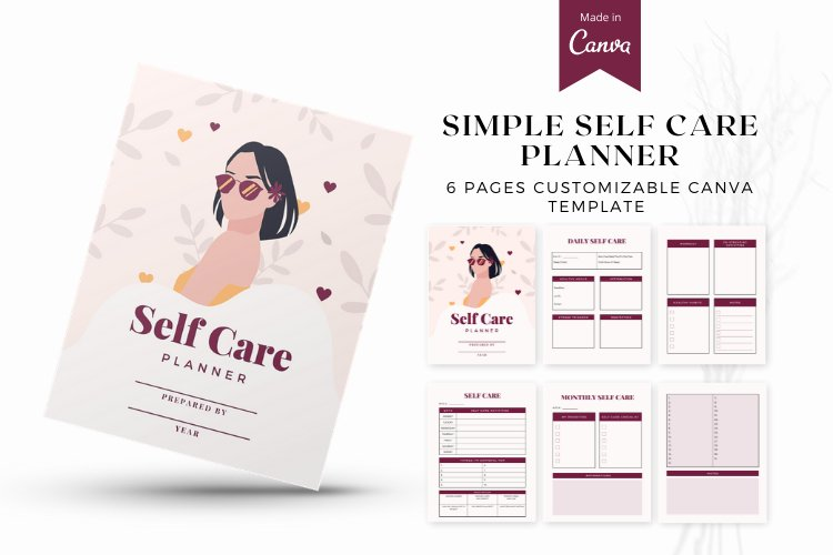 Self Care Planner Canva Templates example
