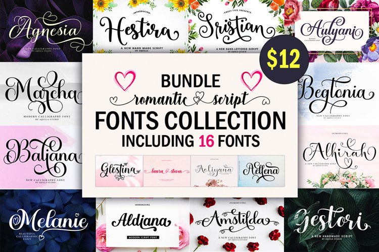 Romantic Script Fonts Collection example image 1