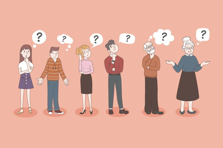 Confused people with a question mark