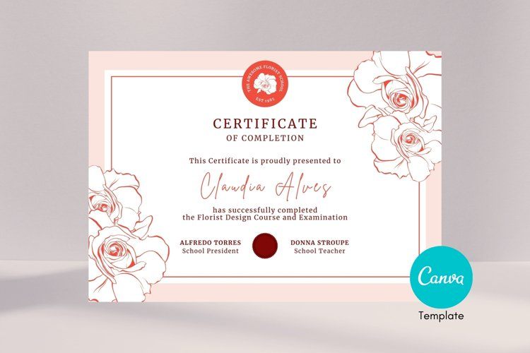 Rose Certificate of Completion Editable Canva Template. example image 1