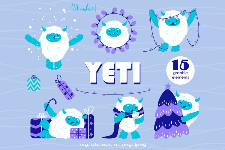 Christmas SVG with cute Yeti - winter SVG files for cricut