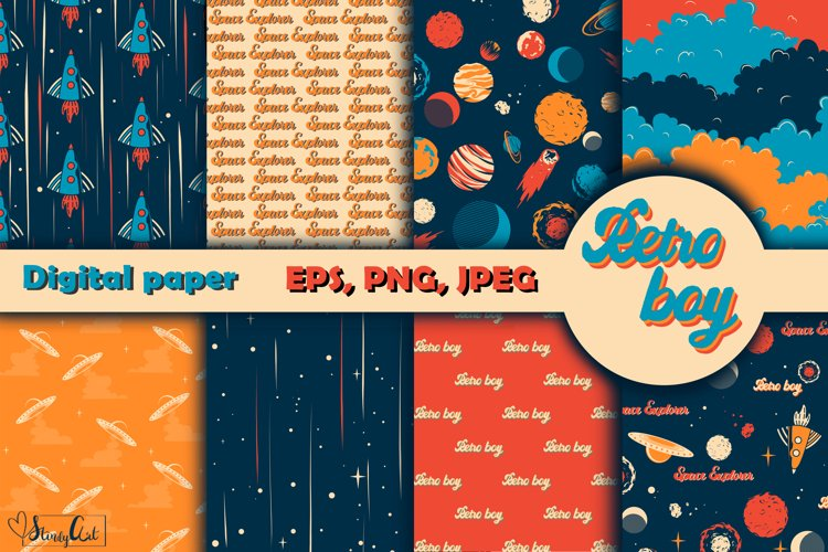 Retro digital paper - 8 Space seamless pattern for baby boy