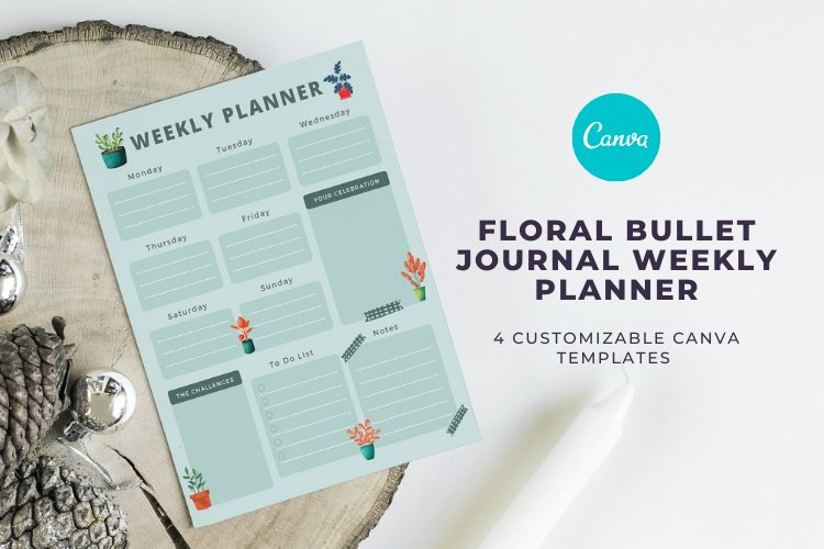 4 Floral Bullet Journal Weekly Planner Canva Templates example