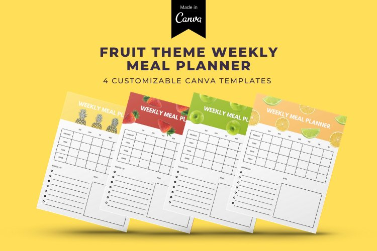 4 Fruit Themed Weekly Meal Planner Canva Templates example
