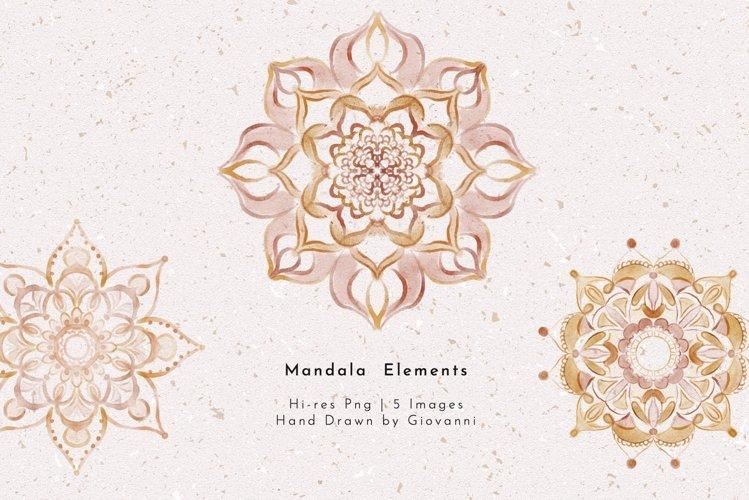 5 Boho Mandala Watercolor, Fine art, Hand Drawn by Giovanni
