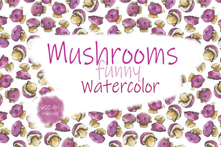 Mushrooms are funny. Watercolor.