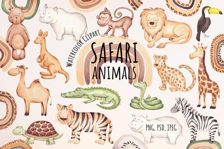 "Watercolor Clipart ""Safari Animals"" example image 1"