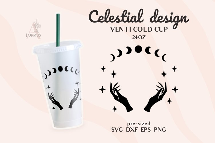 Venti Cold Cup svg, Celestial svg, Zodiac svg, Witch hands example image 1