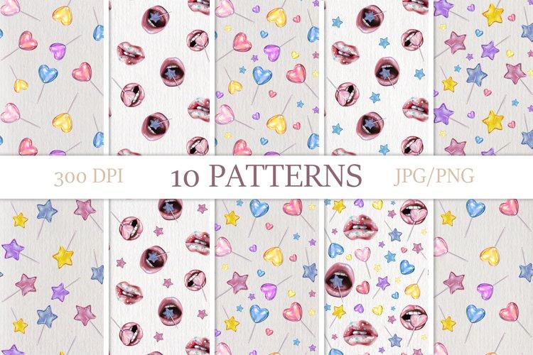 Sweet patterns. Digital illustrations of lollipops.