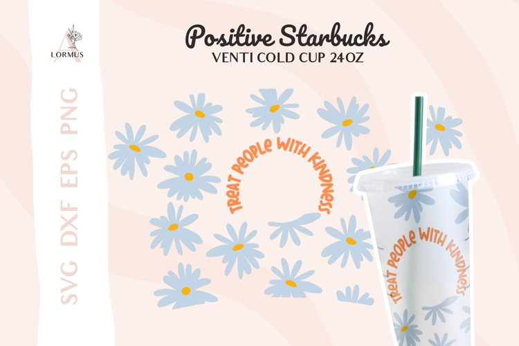 Daisy svg, Floral svg, Venti cold cup svg 24 oz full wrap