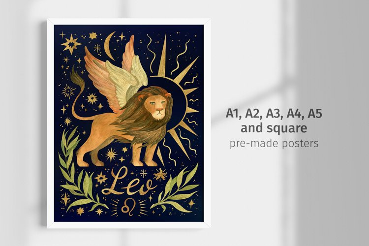 Leo zodiac sign, Astrology posters. Printable wall art