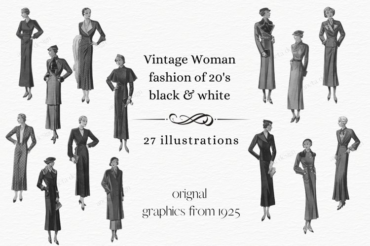 Vintage Fashion Clipart, 1920s Clipart, Cardmaking example image 1