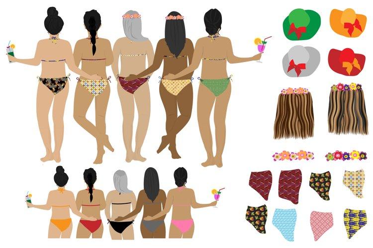 Best friends clipart Girls back view Girls in bikinis