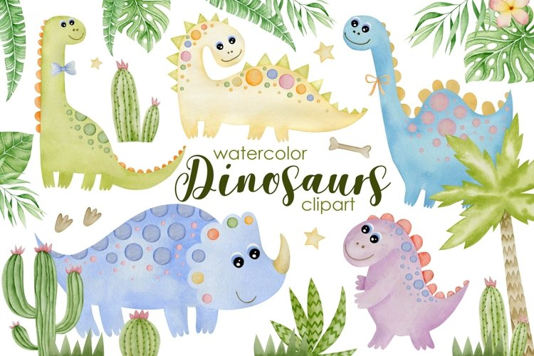Watercolor Dinosaurs Clipart.
