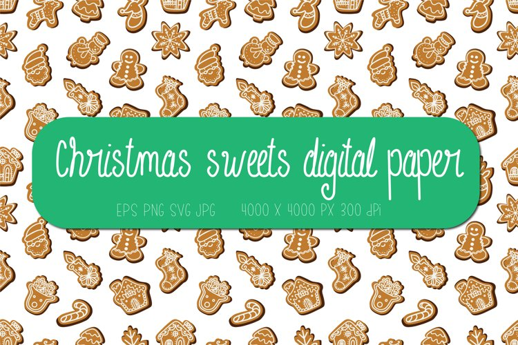 Christmas digital paper   Christmas sweets seamless pattern example image 1
