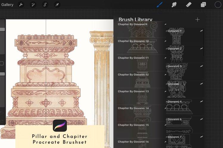 20 Procreate Chapiter & Pillar Stamp Brush Outline
