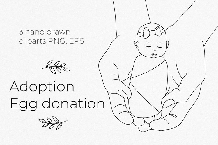 Egg donation, adoption symbols. Handdrawn cliparts. EPS, PNG