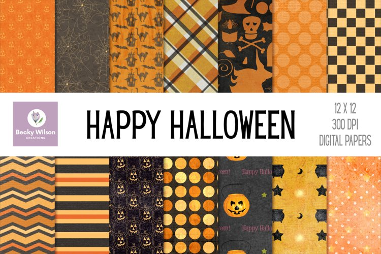 Happy Halloween Digital Papers and Patterns example image 1