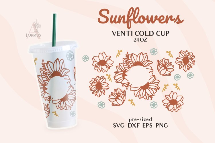 Venti Cold Cup full wrap svg, Sunflower svg, Boho Daisy svg example image 1