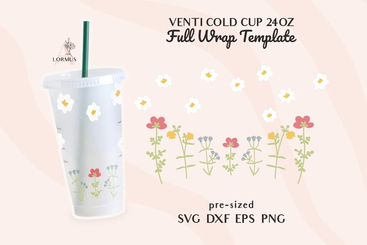 Floral svg, Venti cold cup svg 24 oz, full wrap template svg example image 1