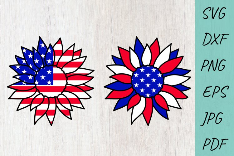 USA Sunflower, 4th of July SVG, Files for Cricut