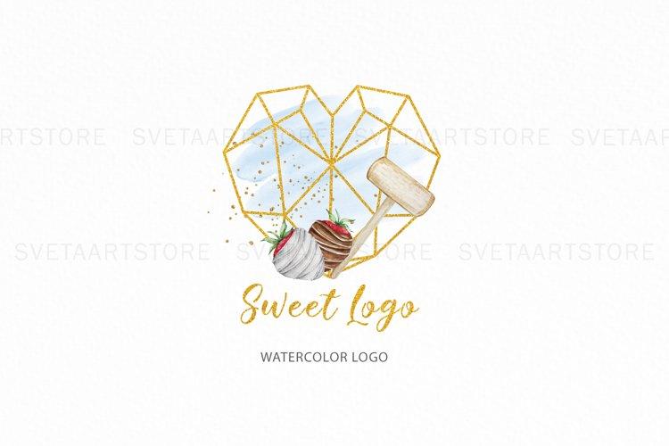 Gold Heart Breakable Logo, Strawberry Chocolate