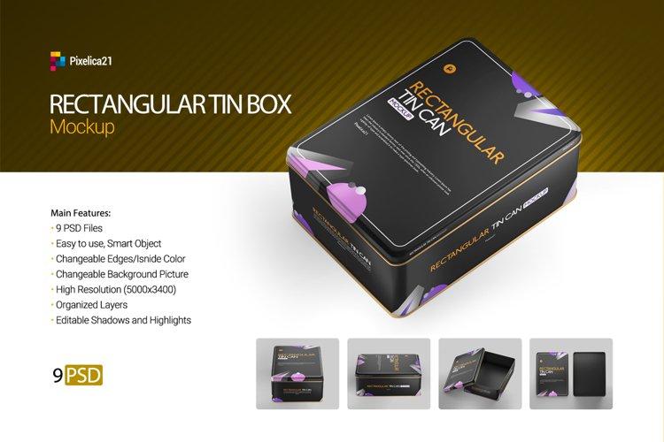 Rectanguler Tin Box Container Mockup