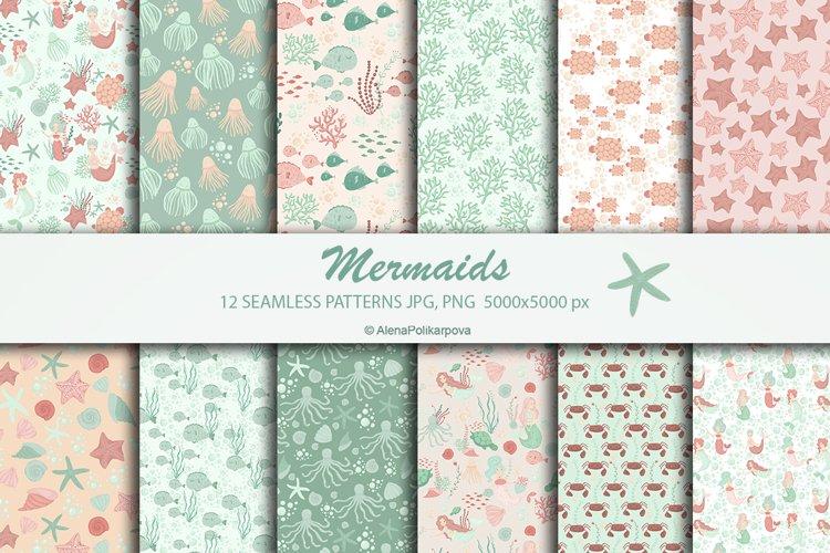 Seamless patterns mermaids. Seamless paper, scrapbook