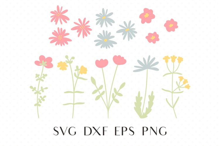 Wildflower svg, Daisy svg, Kawaii svg, Simple flower clipart example image 1