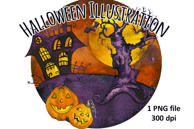 Happy Halloween Haunted House and Pumpkins Sublimation