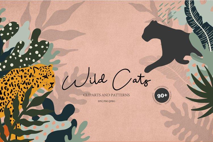 Wild cats. Jungle & tropical set.