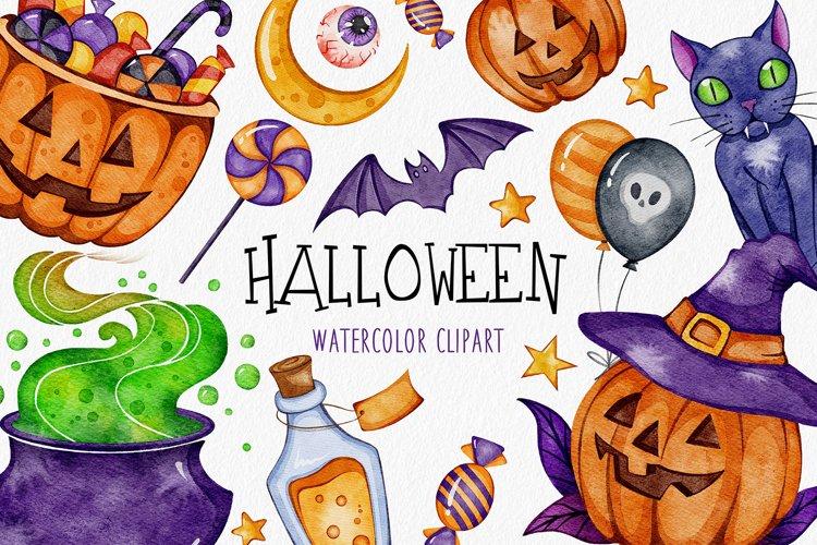 Watercolor Halloween Clipart, Pumpkin Autumn Clipart PNG