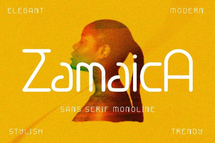 Zamaica - sans serif monoline font example image 1