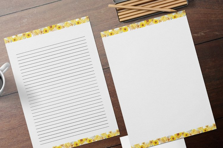 Yellow Lined and Unlined Journaling Papers example image 1