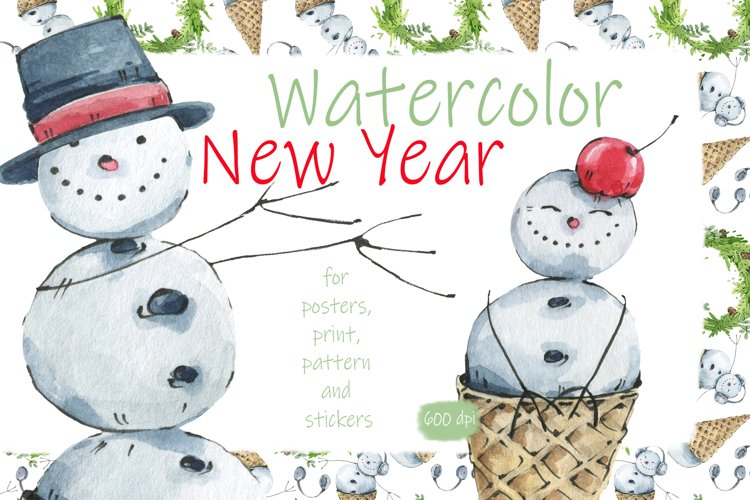New Year. Watercolor. Snowmen.