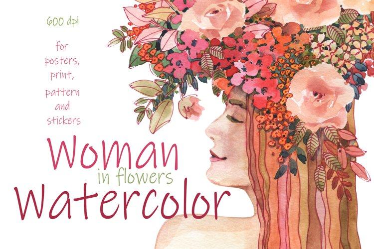 Flowers Woman Watercolor