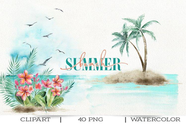 Summer beach watercolor clipart.