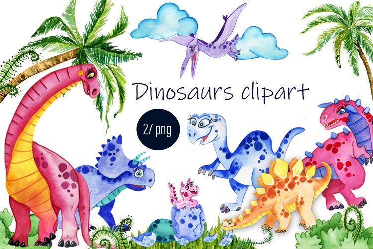 Baby Cute Dinosaurs Watercolor Clipart - Free Design of The Week Font