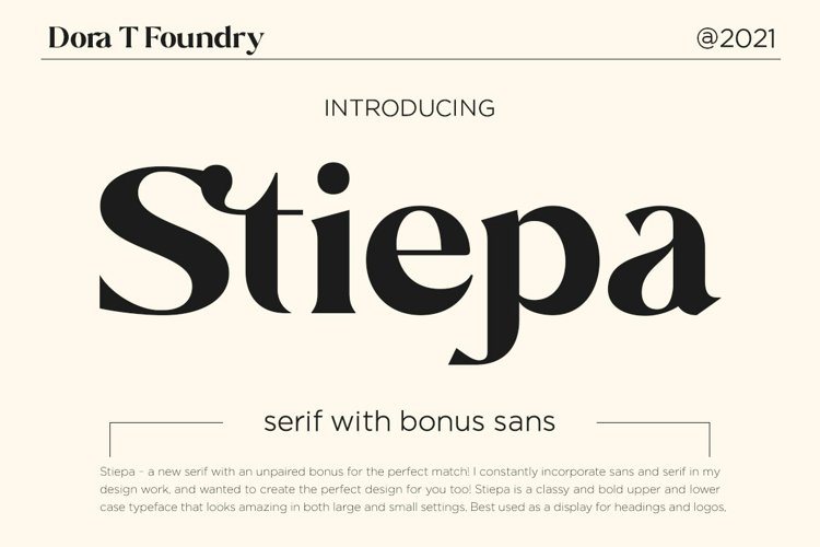 Stiepa   Modern Serif & Bonus Sans example image 1