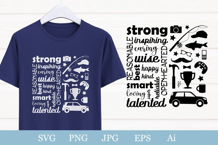 Fathers day svg. Words and illustrations for dad, husband.
