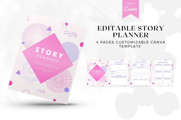 Editable Story Planner Canva Templates example